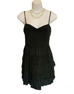 Black RUFFLE Dress Size S 2 4 Forever 21 Knit Stretch MINI Spaghetti Strap Sexy