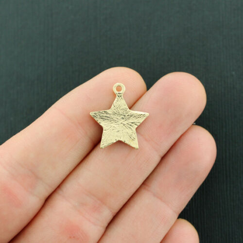 5 Star Charms Gold Tone and Pink Glitter Enamel Sparkly and Fun E695