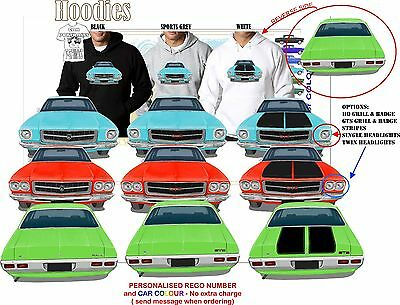 71-74 HQ HOLDEN SEDAN FRONT /& BACK HOODIE ILLUSTRATED CLASSIC RETRO MUSCLE CAR