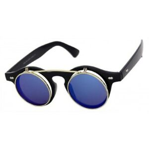 e0494613e585 Cool Flip Up Lens Steampunk Vintage Retro Style Round Sunglasses