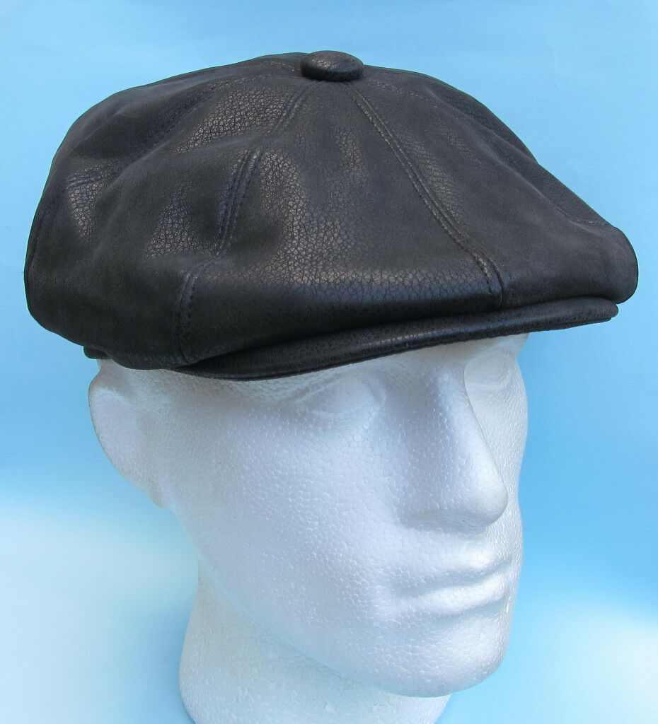 Flat Cap Boy Black Leather Look Baker Boy Cap Gatsby 391a9c
