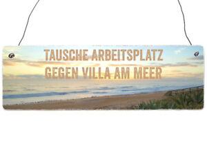 INTERLUXE Holzschild VILLA AM MEER Geschenk Urlaub Meer Sonne | eBay