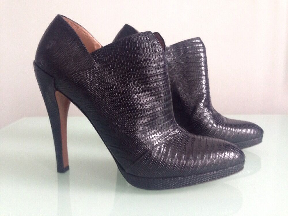 Azzedine Alaia Black Embossed Leather High Heeled Booty Bootie Boots, Size 40