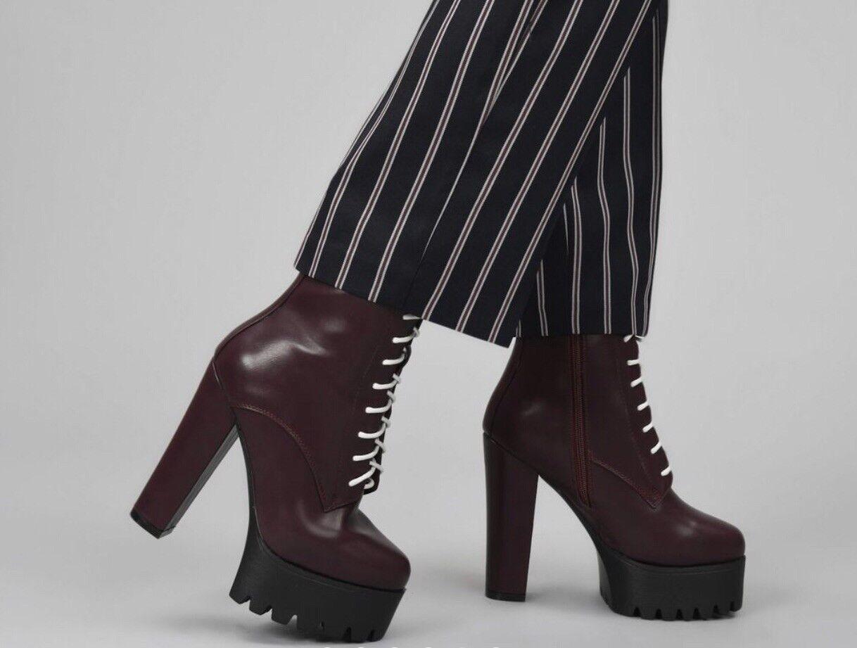 581217133780b Koi Footwear Womens Wine Lace Up High Heel Boots Uk Size 4 ...