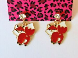 Betsey-Johnson-Crystal-Rhinestone-Enamel-Fox-Post-Earrings