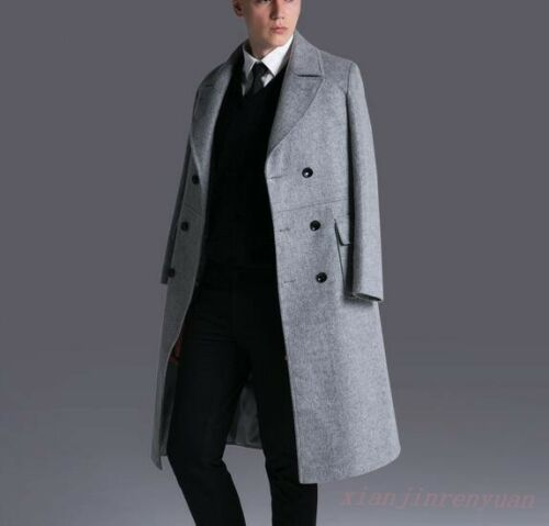 England Style Gentle Men Wool Cashmere Double-breasted Formal Dress Trench Coat