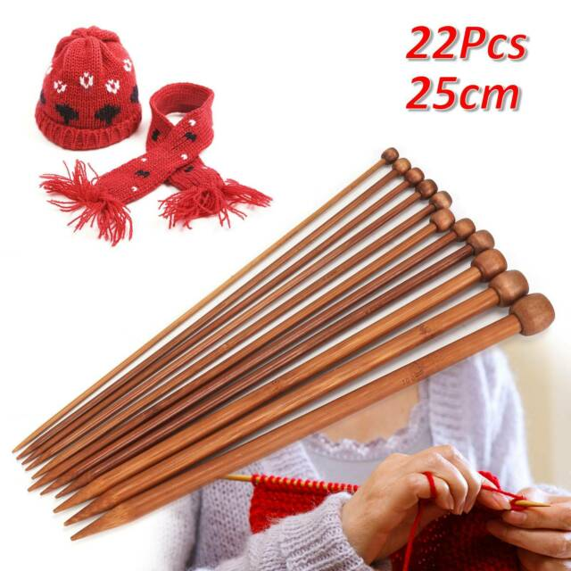 """Bamboo Single Pointed Knitting Needles SP 23cm//9/"""" short length gd size childrens"""