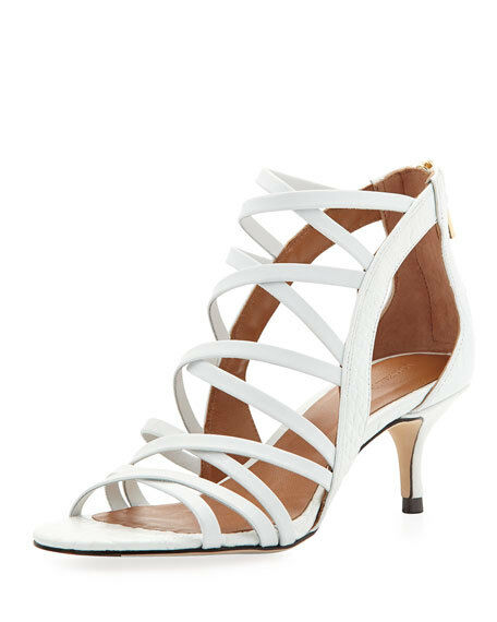 Jayni Croc-Embossed Kitten Heel Sandal, blanc Sz 6.5
