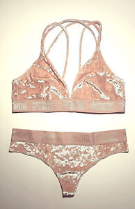 b5ef706072cc4 NEW Victoria s Secret PINK  Velvet Bra~Bralette Thong Set Size ...
