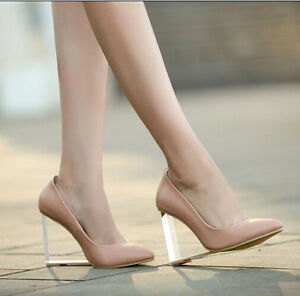 New Stylish Womens Sexy Pointy Toe Clear Less Heel Wedge Date Party ...