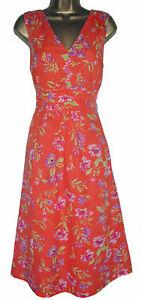 NEW-BODEN-ORANGE-RED-GREEN-FLORAL-VINTAGE-COTTON-TEA-DRESS-8-10-12-14-16-18
