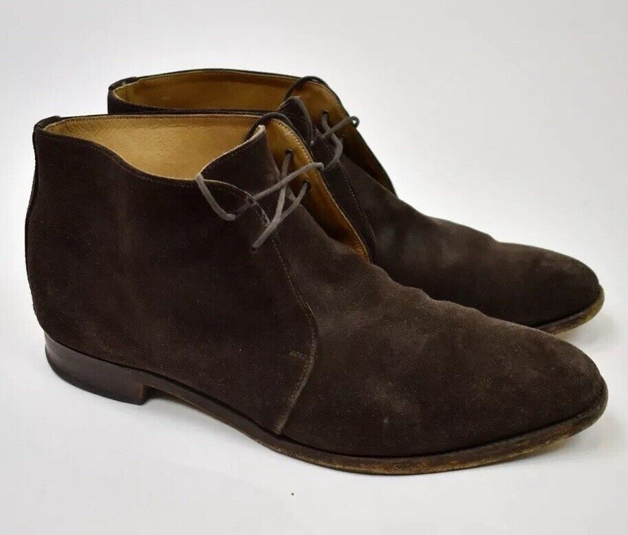 Alfred Ssilver for J.Crew Brown Suede Boots Mens size 13 Made England Goodyear