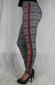 1166-Business-Schwarz-Elegant-Leggings-Kariert-Karo-Tasche-Grau-Streifen-Leggins
