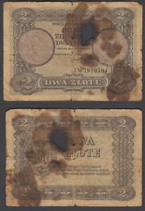 Poland-2-Zlote-1925-G-VG-Condition-Banknote-P-47-RARE