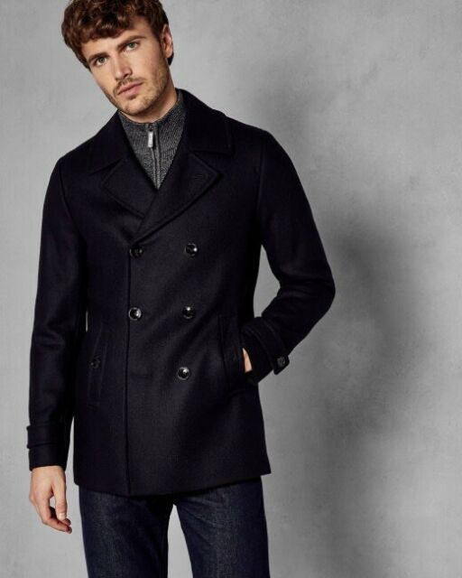 95f8f38977f NEW Ted Baker London Grilld Wool Blend Peacoat - Navy Blue - 2XL