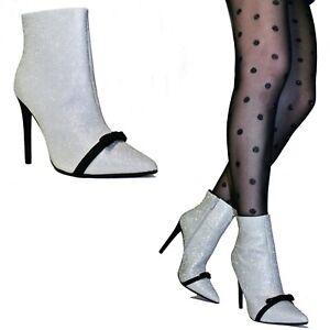 SCARPE Donna Stivali Stivaletti Tronchetti Spuntati Glitter