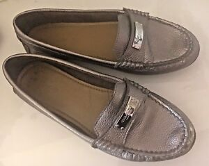 002f5ee616f Image is loading Coach-Fredrica-Gray-Pewter-Silver-Leather-Loafer-Moccasins-