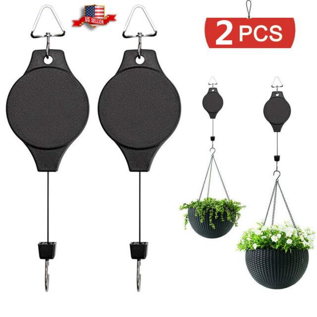 Plant Pulley Retractable Hanging Hanger Basket Hook Garden Flower Down Pull 2Pcs