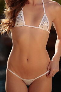 ffe55ca57b6ef Image is loading Micro-Bikini-White-with-Silver-Mirror-Dots-White-