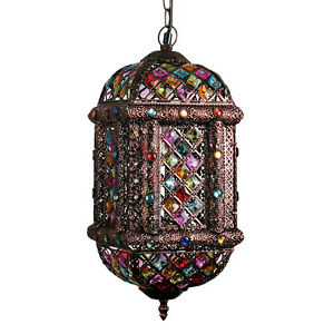 Moroccan style bronze brown multi coloured ceiling light fitting image is loading moroccan style bronze brown multi coloured ceiling light aloadofball Image collections