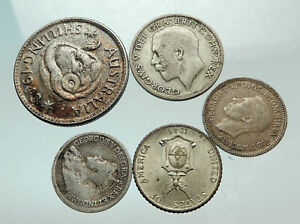GROUP-LOT-of-5-Old-SILVER-Europe-or-Other-WORLD-Coins-for-your-COLLECTION-i75679