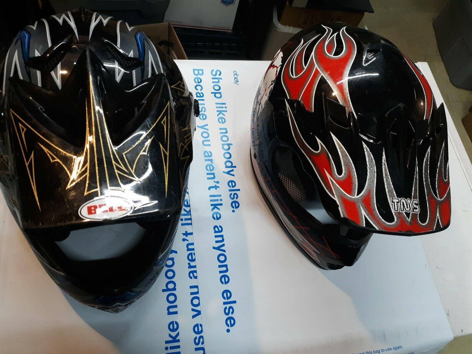 BELL Exodus Thrill Seeker bleu Helmet grand rouge TMS grand Lot of 2 Helmets