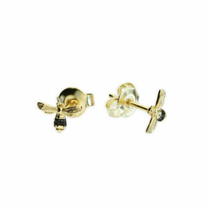 7ac1769141b Details about Gold Plated Sterling Silver Bumble Bee Stud Earrings Cubic  Zirconia Decoration