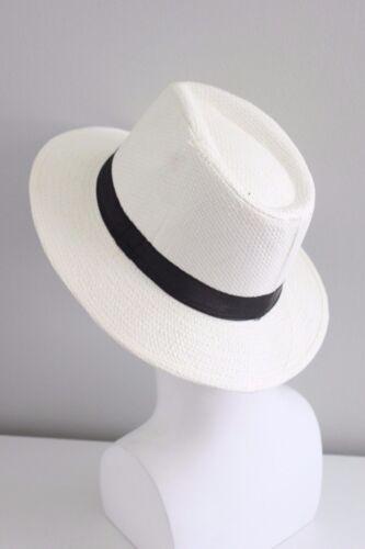 Men Women Unisex Panama Medium Brim Trilby Beach Pool Cuba Fedora Woven Hat