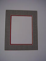 Picture Frame Mat 24x36 With 21x29 Opening Houndstooth And Red Custom Size