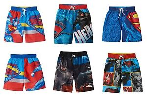 46e4d3a41c568 NWT Boys Character Swim Trunks Swimsuit DC Comics Batman Superman 4 ...