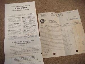 Vintage Rolls Razor, Inc. invoice slip and document from 1938