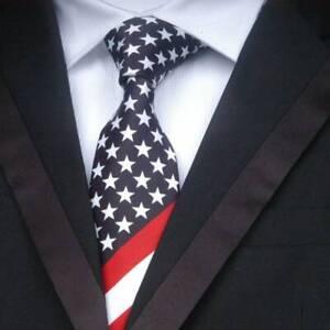 Unisex-American-Flag-Stars-And-Stripes-Slim-Print-Necktie-cute-b