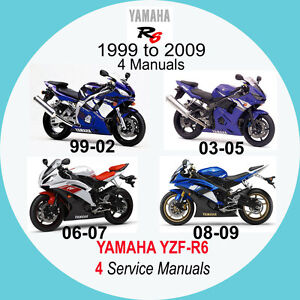 yamaha yzf r6 1999 2009 service manual 4 manuals on 1 cd 99 03 rh ebay co uk yamaha r6 1999 service manual 99 Yamaha Pictures