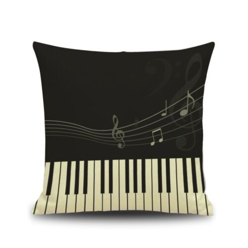 Music Theme Pillow Case Note Piano Keyboard Pattern Vintage Style Cushion Cover