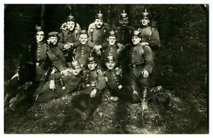Antique-WW1-military-RPPC-postcard-group-of-German-soldiers-in-woodland