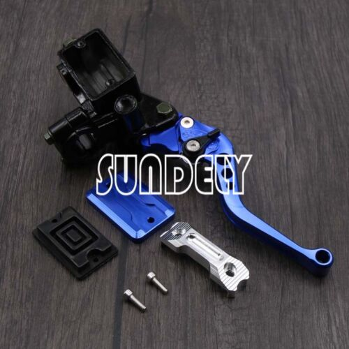 "7//8/"" CNC Motorcycle Universal Blue Clutch Brake Levers Master Cylinder Reservoir"