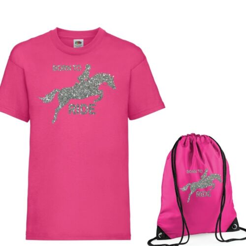 Girls Personalised T Shirt /& Bag Set Show Jumping Horse /& own name Age 3-13 NEW