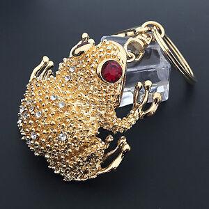 Gold Toad Frog Crystal Pendant Purse Car Bag Metal Keychain Key Ring ... 19cc2ec73