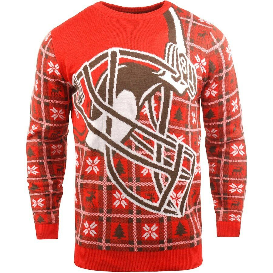NFL UGLY Sweater Cleveland brauns Pullover Christmas Style Big Logo Football 18