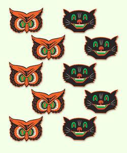 10-Retro-CAT-OWL-MINI-HALLOWEEN-Decorations-Die-cut-Cutouts-VTG-BEISTLE1940