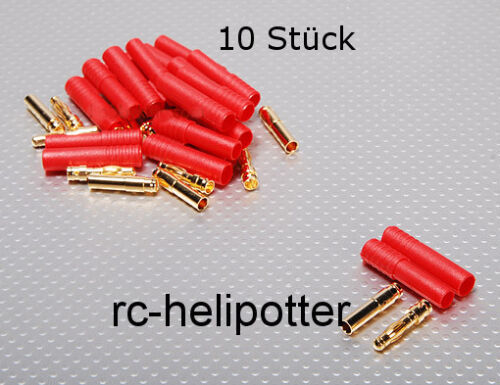 10 Gold Connectors 4mm with Sleeve Reverse Polarity Protector 93A gold contact