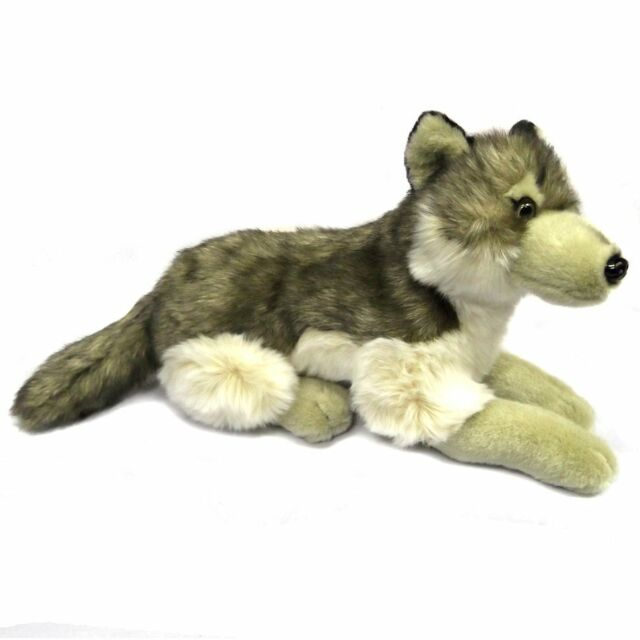 41cm Lying Wolf By Dowman Soft Touch - Cuddly Toy