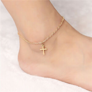 Image Is Loading 2x Women Gold Plated Cross Pendant Anklet Chain