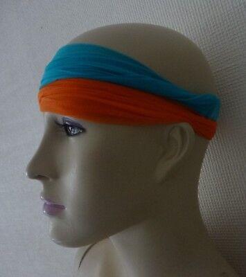2stirnbänder Blau Orange Stirnband Ohrenschützer Haarschmuck Haarband Vintage