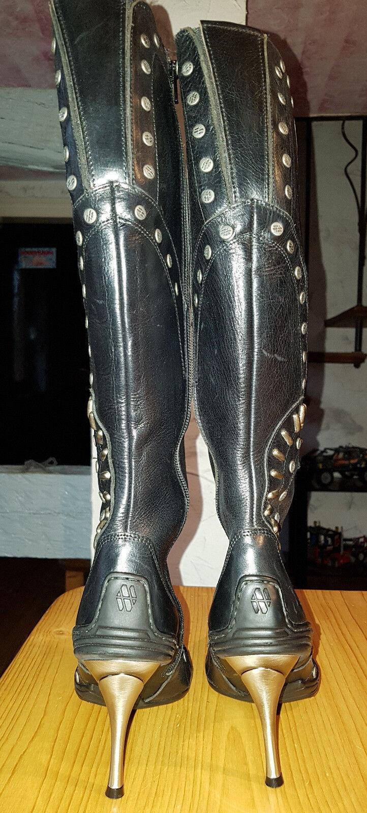 Designer Gr.38 Damen Lederstiefel Gr.38 Designer echt Leder schwarz 1c65f6