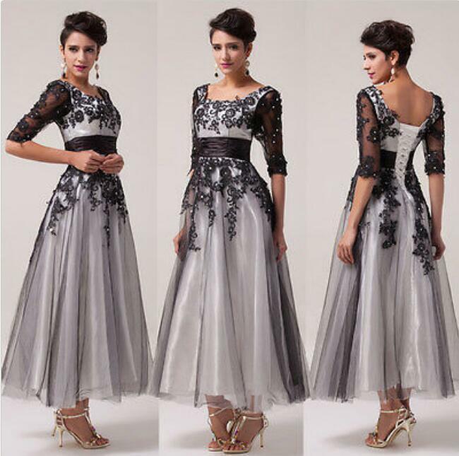 Damenmode Mesh Halbarm Elegant Abendkleider Elegant Party Kleider Hochzeit Neu