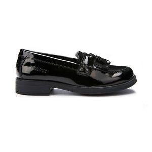 proteína Evaluación importar  Geox Girls J Agata A Junior Black Patent Leather Brogue Slip On School Shoes    eBay