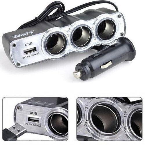 WF-0120 3 en 1 5V USB Expansion de encendedor de Cigarrillos Cargador de coche Adaptador Negro UK