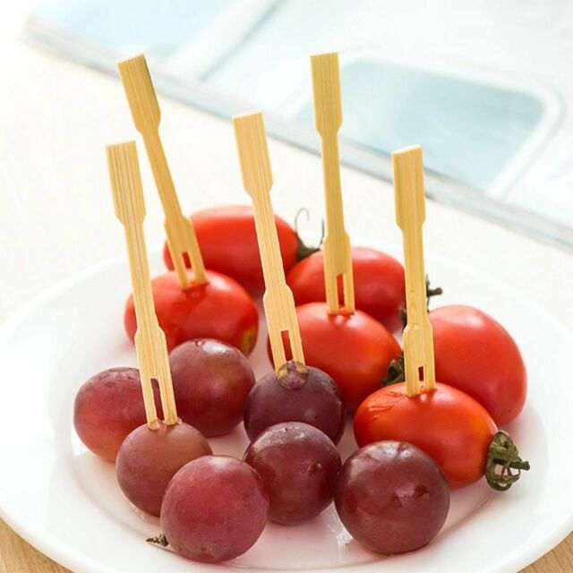 Dessert 100Pcs Skewers Wooden Utensil Fruit Forks Bamboo Party Disposable