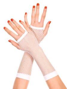 White-Fishnet-Gloves-Fancy-Dress-Costume-Long-Net-New-FREE-SHIPPING